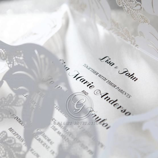 White Lily Blossoms Laser Cut Wrap - Corporate Invitation - 35