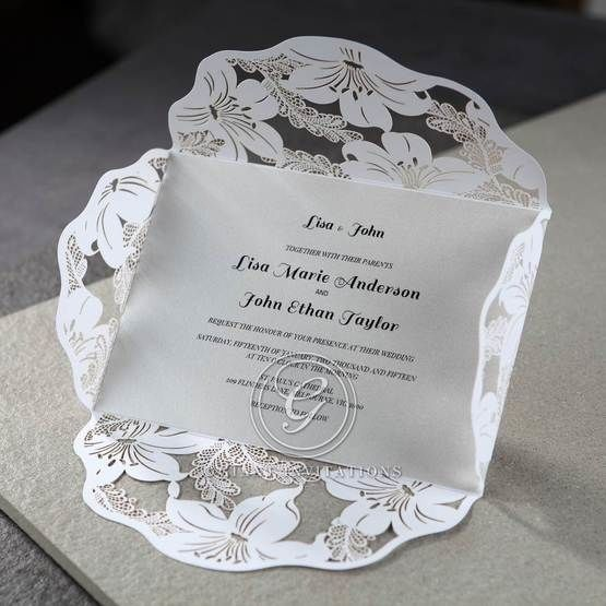 White Lily Blossoms Laser Cut Wrap - Wedding invitation - 58