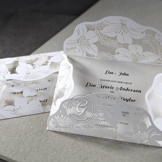 White Lily Blossoms Laser Cut Wrap - Wedding invitation - 61