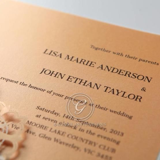 Orange Laser Cut Floral Frame - Corporate Invitation - 59