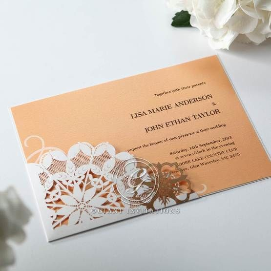 Orange Laser Cut Floral Frame - Corporate Invitation - 61