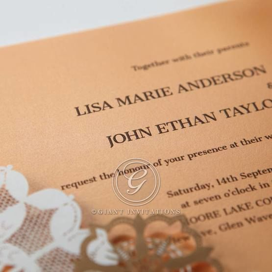 Orange Laser Cut Floral Frame - Corporate Invitation - 63