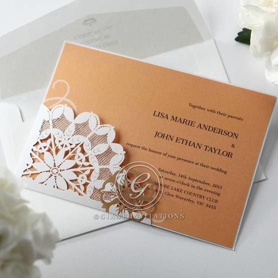 Orange Laser Cut Floral Frame - Corporate Invitation - 64