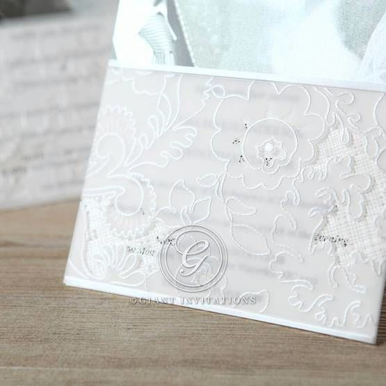 Floral white themed flap of photo invitation
