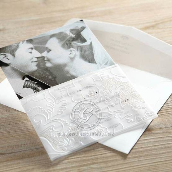 Thermography printed white floral themed photo invitation