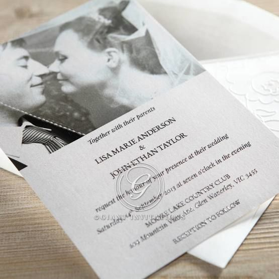 Photo invitation with black raised lettering