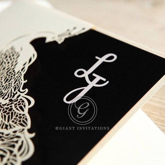 Black Peacock Laser Cut Pocket With Foil - Hens Night Invitations - 4