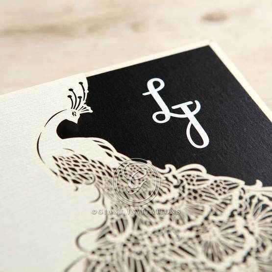 Black Peacock Laser Cut Pocket With Foil - Engagement Invitations - 19