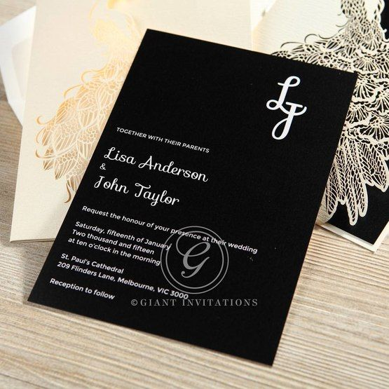 Black Peacock Laser Cut Pocket With Foil - Hens Night Invitations - 7