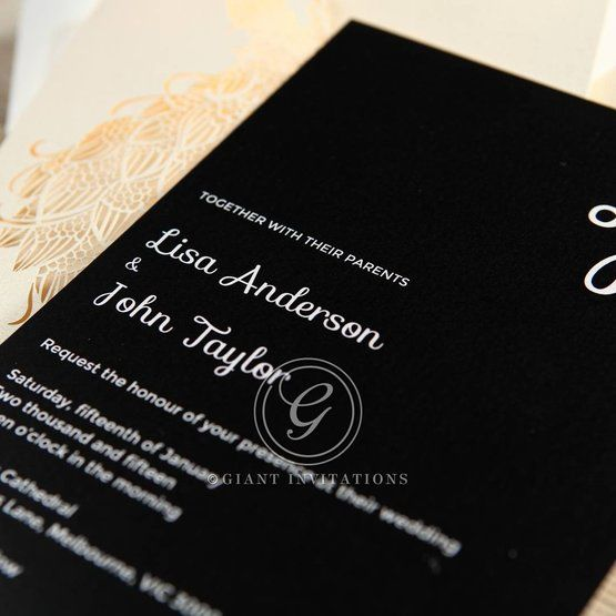 Black Peacock Laser Cut Pocket With Foil - Engagement Invitations - 22