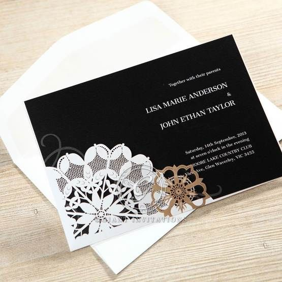 White floral pocket with black inner paper printed with white font, flat