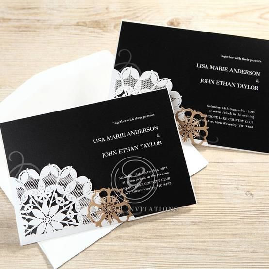 Full view of the digitally printed, formal invitation featuring a black inner card