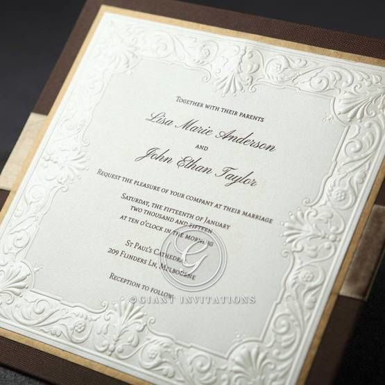 Brown and gold bordered invitation with embossed ecru insert and raised print