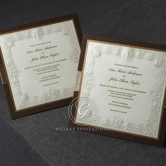 Hardboard brown invitation in full view featuring a dark brown frame with gold accent and embossed insert paper
