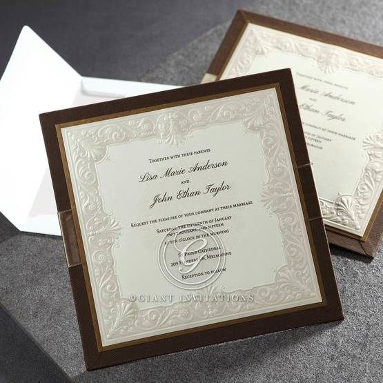 Brown invitation with embossed swirls and thermography printing