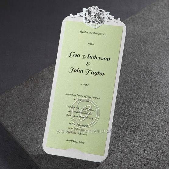Laser cut vintage flower designed pocket invite with apple green digital printed inner card