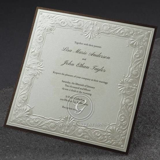 Raised framed square wedding invitation with dark brown backing layer, raised printed and silk screened paper