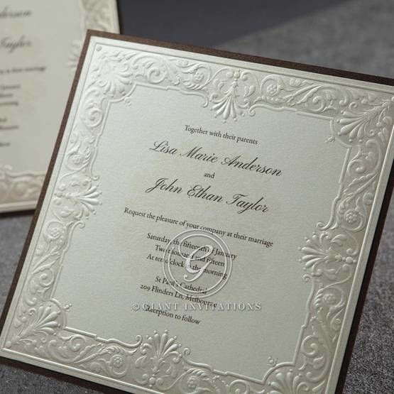 Vintage themed square invitation with brown backing layer and raised ink lettering