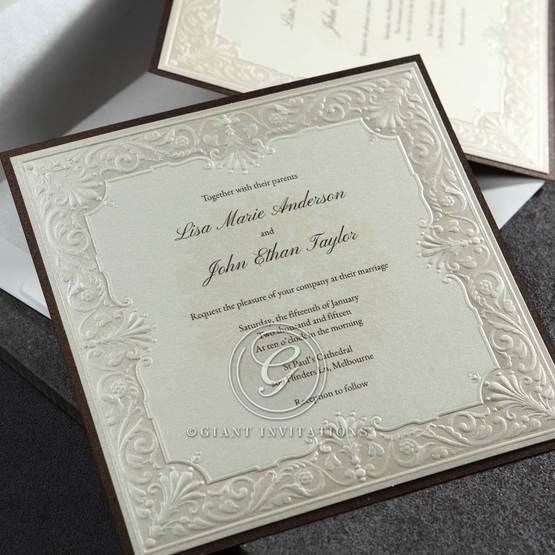 Full view of the square wedding invitation, thermography printed, embossed edges