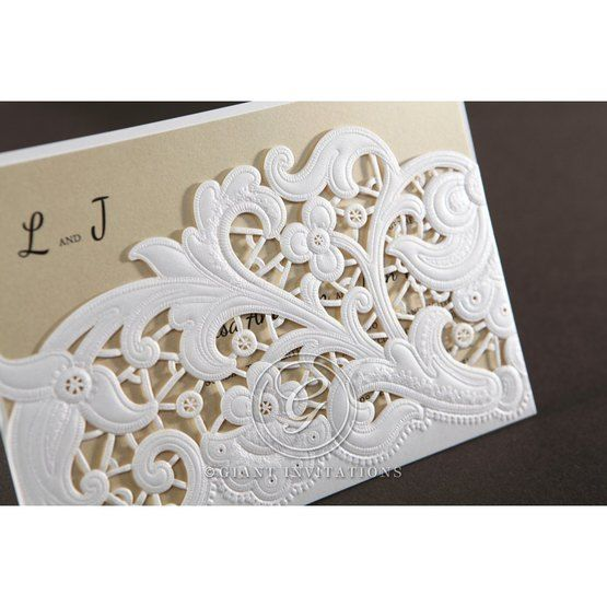 Top view of the embossed laser cut pocket and blue inner card showcasing jewels and thermography printing