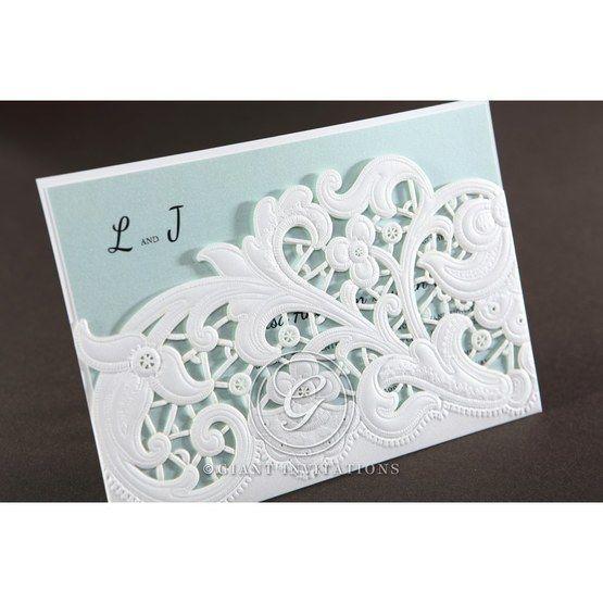 White floral pocket wedding invitation, tiffany blue inner paper