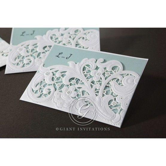 Blue Laser Cut Floral Pocket - Wedding invitation - 8
