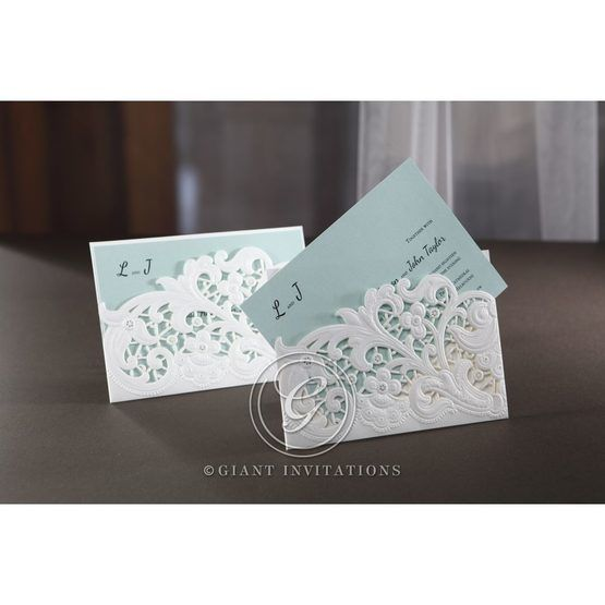 Blue Laser Cut Floral Pocket - Wedding invitation - 13