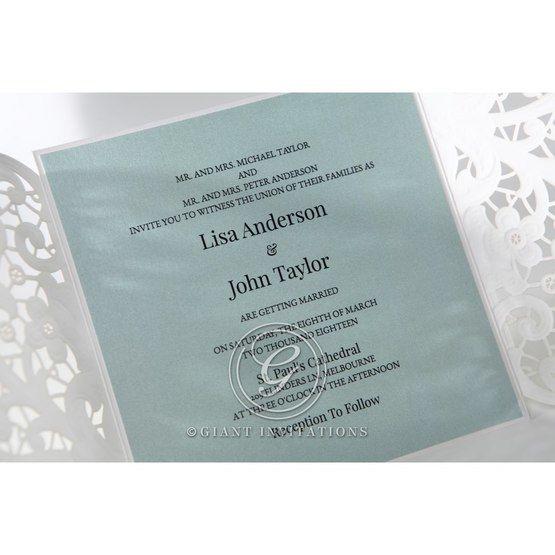 Blue inner paper; gatefold; laser cut; open