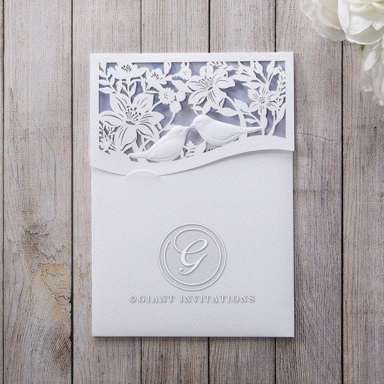 Purple Lasercut pocket with Love Birds - Wedding invitation - 96