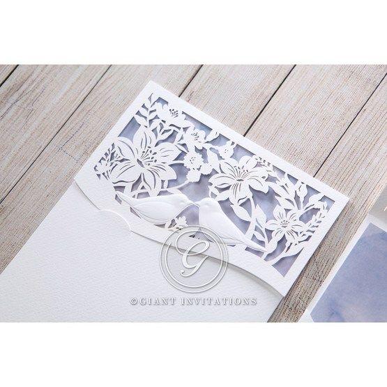 Purple Lasercut pocket with Love Birds - Wedding invitation - 16