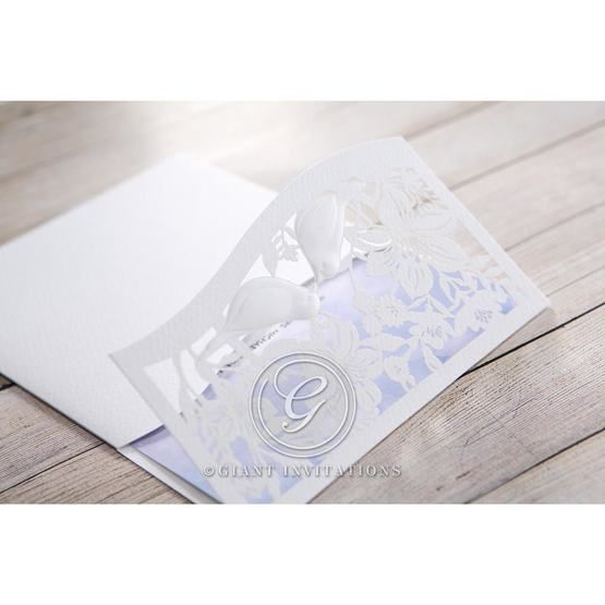 Purple Lasercut pocket with Love Birds - Wedding invitation - 17