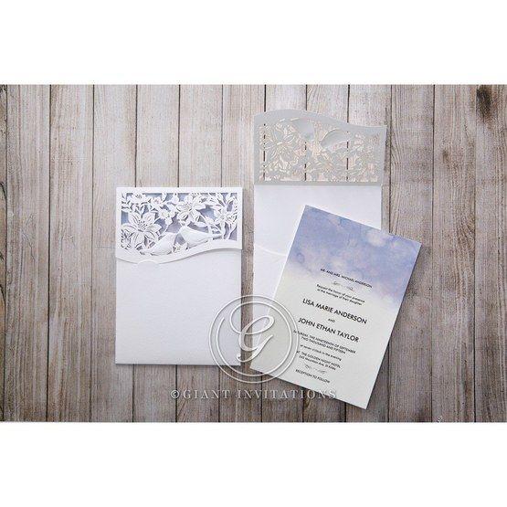 Purple Lasercut pocket with Love Birds - Wedding invitation - 18