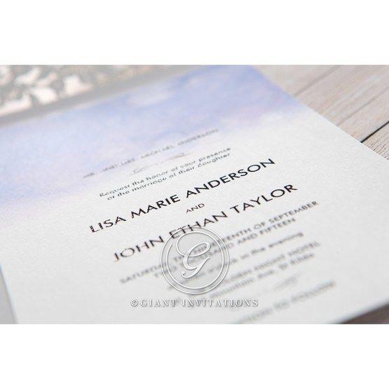 Purple Lasercut pocket with Love Birds - Wedding invitation - 21