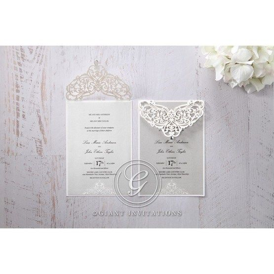 Silver/Gray Jeweled Romance Laser Cut - Wedding invitation - 45