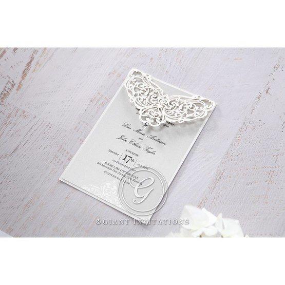 Silver/Gray Jeweled Romance Laser Cut - Wedding invitation - 46