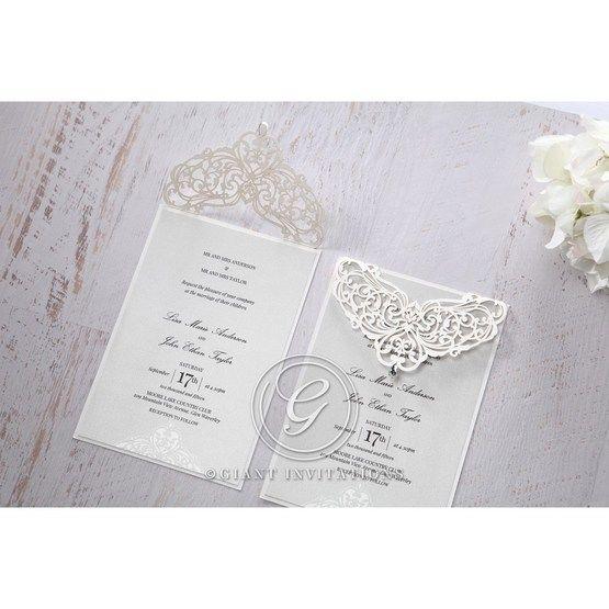 Silver/Gray Jeweled Romance Laser Cut - Wedding invitation - 47