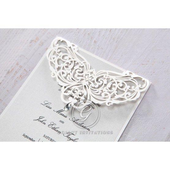 Silver/Gray Jeweled Romance Laser Cut - Wedding invitation - 48