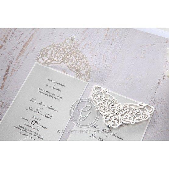 Silver/Gray Jeweled Romance Laser Cut - Wedding invitation - 49