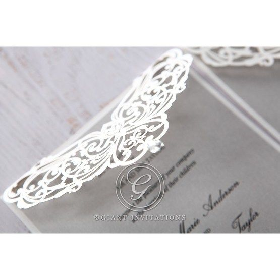Silver/Gray Jeweled Romance Laser Cut - Wedding invitation - 50