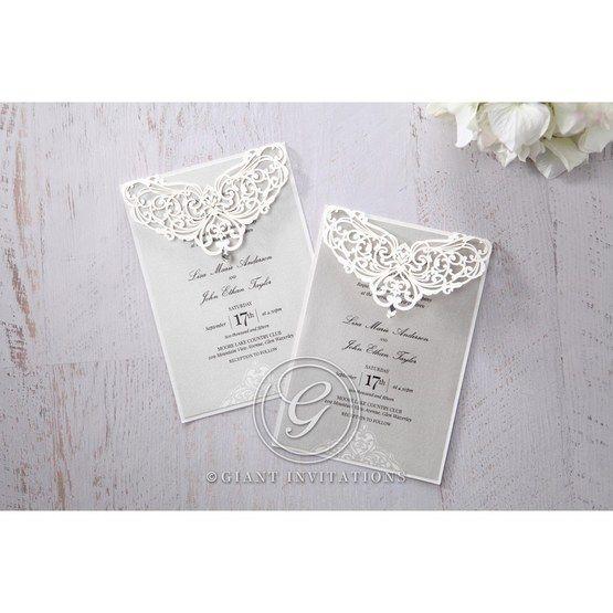 Silver/Gray Jeweled Romance Laser Cut - Wedding invitation - 51