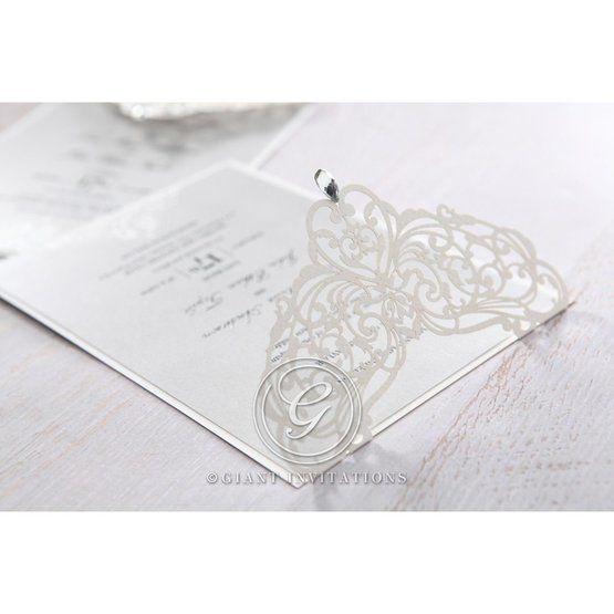 Silver/Gray Jeweled Romance Laser Cut - Wedding invitation - 52