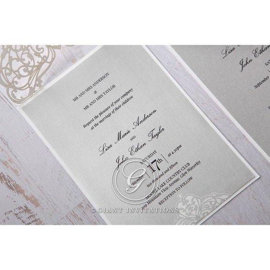 Silver/Gray Jeweled Romance Laser Cut - Wedding invitation - 53