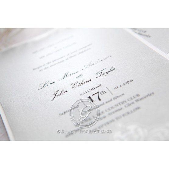 Silver/Gray Jeweled Romance Laser Cut - Wedding invitation - 54
