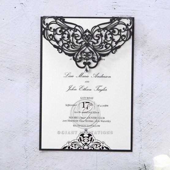 White Jeweled Romance Black Laser Cut - Engagement Invitations - 83