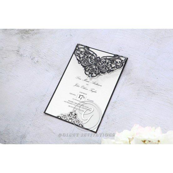 White Jeweled Romance Black Laser Cut - Wedding invitation - 97