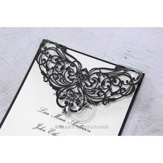 White Jeweled Romance Black Laser Cut - Wedding invitation - 98