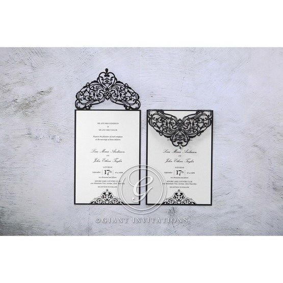 White Jeweled Romance Black Laser Cut - Wedding invitation - 99
