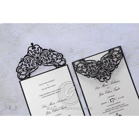 White Jeweled Romance Black Laser Cut - Wedding invitation - 0