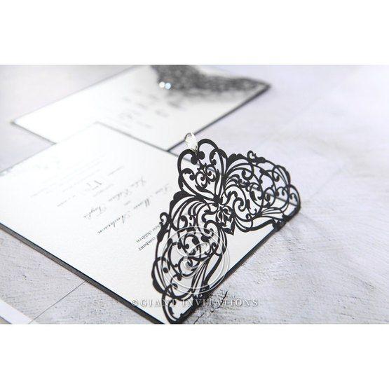 White Jeweled Romance Black Laser Cut - Wedding invitation - 1