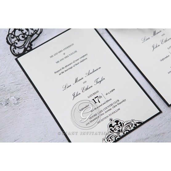 White Jeweled Romance Black Laser Cut - Wedding invitation - 2
